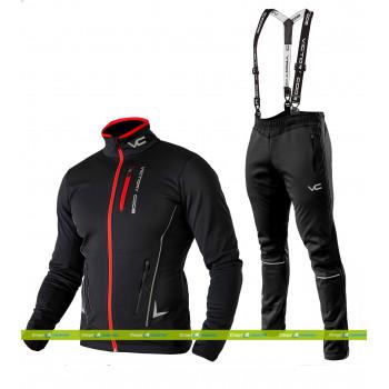 Лыжный разминочный костюм 905 Victory Code Speed Up Black с лямками мужской
