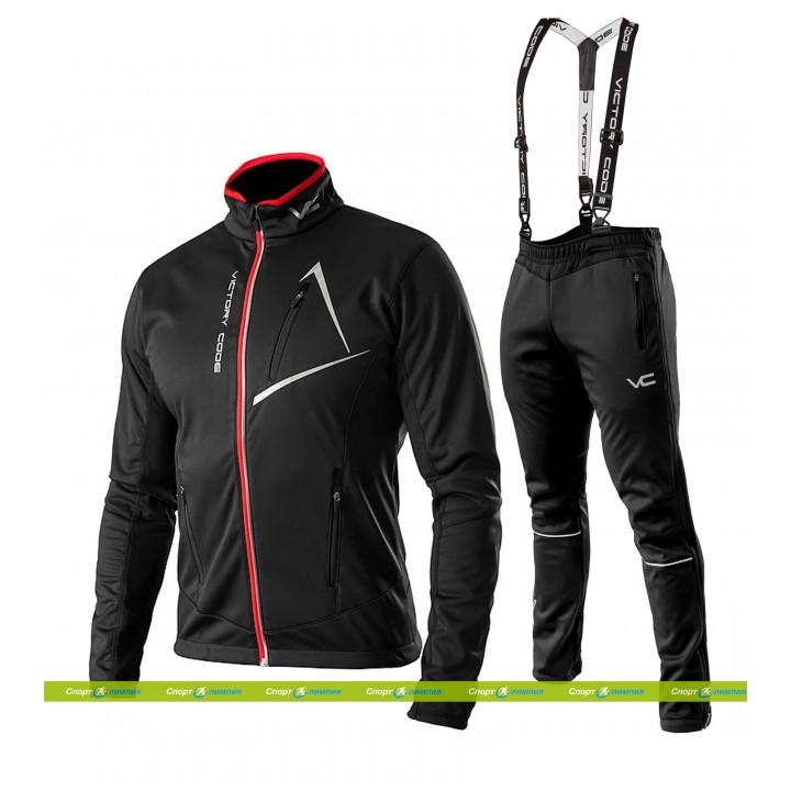 Лыжный разминочный костюм 905 Victory Dynamic 2019 Black с лямками мужской