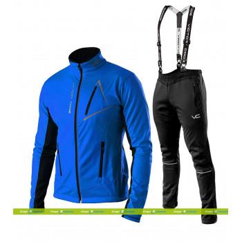 Лыжный разминочный костюм 905 Victory Code Dynamic 2019 Blue с лямками мужской