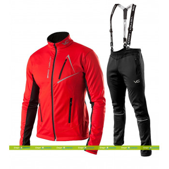 Лыжный разминочный костюм 905 Victory Dynamic 2019 Red с лямками мужской