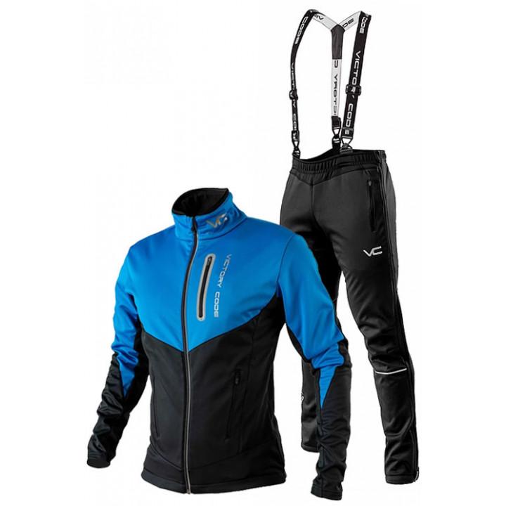 Лыжный разминочный костюм 905 Victory Code Go Fast 2019 Blue-Black с лямками мужской