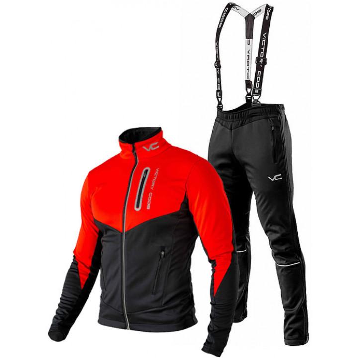 Лыжный разминочный костюм 905 Victory Code Go Fast 2019 Red-Black с лямками мужской