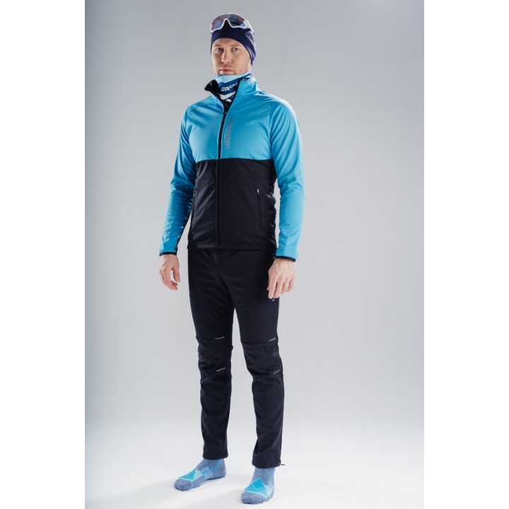 Лыжный разминочный костюм Nordski Premium Light Blue-Black 2020 мужской