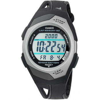 Часы Casio STR-300C-1 60 отсечек черный/металлик