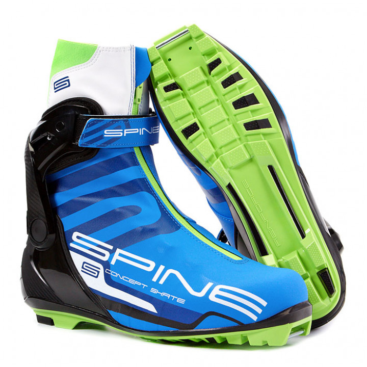 Ботинки лыжные NNN коньковые Spine Concept Skate Pro 297 синий/черный/салатовый